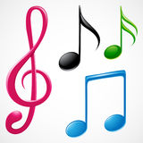 Music Notes. Set of colorful and glossy music notes Stock Images