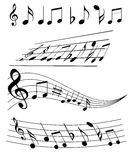 Music notes. An illustration of music notes on white Stock Photo