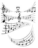 Music notes. An illustration of various music notes on white stock illustration