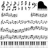 Music notes. Set of decorative musical notes Stock Image