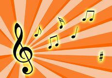 Music notes. On the air with a colourful background royalty free illustration