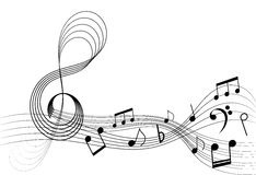 Music notes. Illustration of a sinuous stuff with notes Stock Image