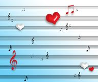 Music notes. With hearting and cyan background Stock Photos