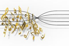 Music Notes. The song cannot continue. An obstacle in the way Stock Photos
