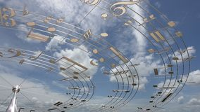 Music Notes. In the sky. The antenna transmit the songs Royalty Free Stock Photography