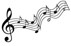 Music notes. Black and white illustration of music notes stock illustration