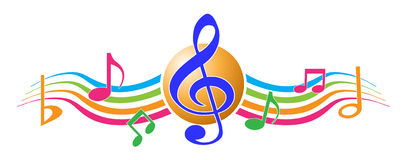 Music notes. Illustration of colorful music notes on white background royalty free illustration