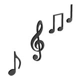 Music notes. In 3d black over white background, concept of music and tunes Stock Photo