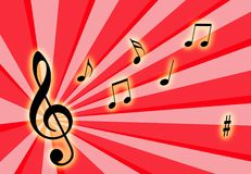 Music notes. On the air with a colorful background Stock Photo