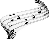 Music Notes. On soft grey curves Stock Image