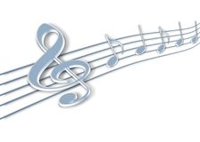 Music notes 3d Stock Photos