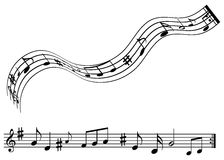 Music notes. Black and white illustration of music notes (wavy and straight Stock Photos
