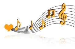 Music notes. Love music notes on isolated background Stock Image