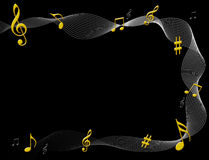 Music notes. Illustration of music notes on black background Royalty Free Stock Photography