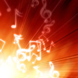 Music notes. On a fire like background Royalty Free Stock Photos