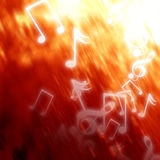 Music notes. On a fire like background Royalty Free Stock Image