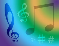 Music Notes. Computer generated design. Music symbols against an array of colors royalty free stock images