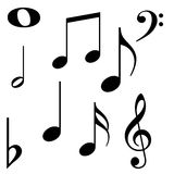 Music notes. Black isolated music notes  illustration Royalty Free Stock Photography