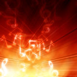 Music notes. On a hot fire like background Royalty Free Stock Photo