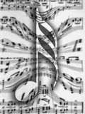 Music notes. A big note in front of a background of notes in blur motion stock illustration