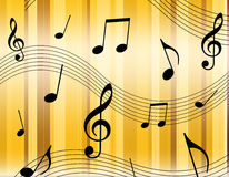 Music notes. On colorful stripped background illustration Stock Photo