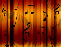 Music notes. On colorful striped background illustration Royalty Free Stock Photo