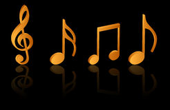 Music notes. Golden style music symbols on stage Royalty Free Stock Image