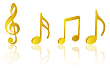 Music notes. Golden music symbols dancing on stage Stock Image