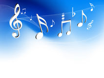 Music notes. Music symbols on cool waves background Stock Photo
