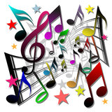 Music Notes. Lots of Colored Music Notes vector illustration