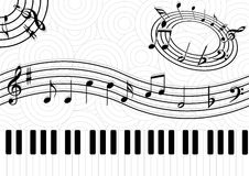 Music notes on abstact background. Classic music symbols with piano and clef Royalty Free Stock Images