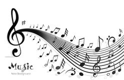 Music Notes Abstract Design. Design concept of musical note sounds wave line choir beat audio digital studio festival color compose composition concert banner Royalty Free Stock Image