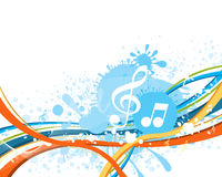Music notes. On a abstract colorful background with splash vector illustration