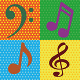 Music notes. Abstract music notes on squares with different color Royalty Free Stock Images