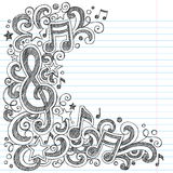 Music Notes And G Clef Sketchy Music Class Doodles Stock Photos