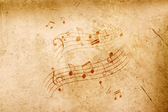 Music notes on antique background Stock Image