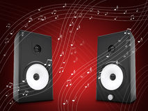 Music notes around audio speakers Royalty Free Stock Photo