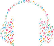 Music Notes as Headphones Stock Images