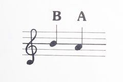 Music notes B and A Stock Photography