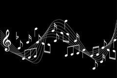Music notes background. Music notes illustration isolated on black background Royalty Free Stock Photo