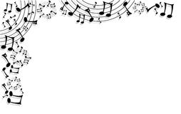 Music notes background. Frame made of music notes and lines on white background Stock Image