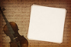 Music notes background. Music notes on fabric texture background with copy-space Stock Image