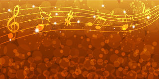 Music notes background. Abstract music notes on gold background with circles Royalty Free Stock Images