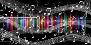 Music notes background black. vector illustration. stock illustration