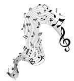 Music Notes. Background design with Collection of different music notes Swirl stock illustration