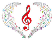 Music Notes. Background design with Collection of different music notes Swirl Stock Images