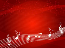 Music notes background. Music notes on red color background Stock Photos