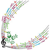 Music notes background, stylish musical theme frame, vector illu Stock Photo