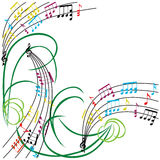Music notes background, stylish musical theme frame, vector illu Royalty Free Stock Photos