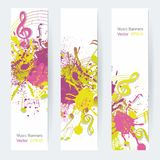 Music notes banners. Music notes banner design, illustration Stock Illustration